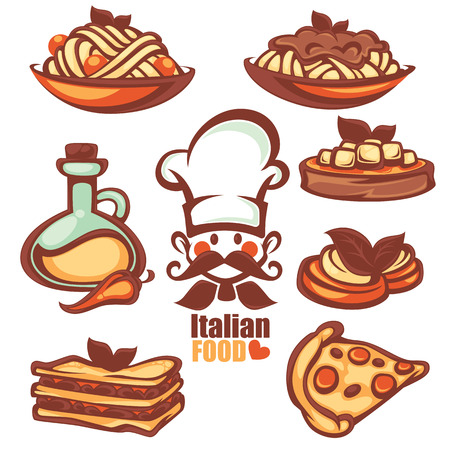 cook hats: Italian menu, collection of food symbol and icons in cartoon style Illustration