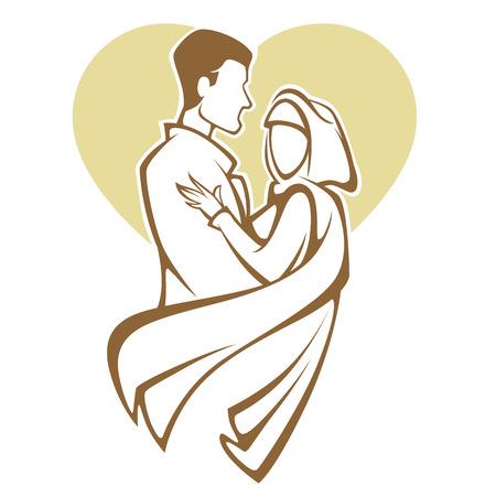 イスラム教徒の結婚式、花嫁と花婿、エレガントなスタイルのロマンチックなカップル  イラスト・ベクター素材