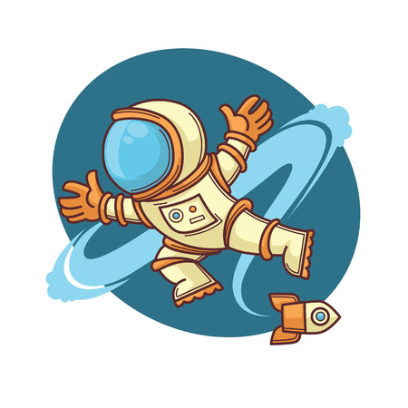 cartoon space: retro astronaut in outer space, cartoon illustration