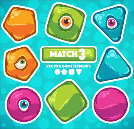 match 3, cartoon elementen voor uw eigen mobiele game