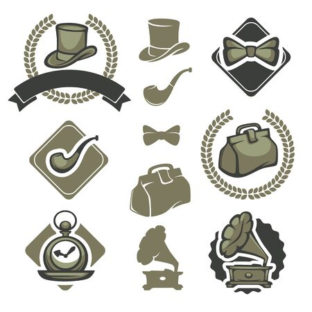 sir: collection of victorian gentleman emblems, labels, badges and designed elements.
