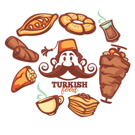 pakistani: turkish food, cartton collection for your menu Illustration