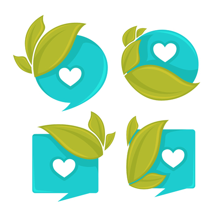 wetness: water and leaves, collection of ecological stickers and frames