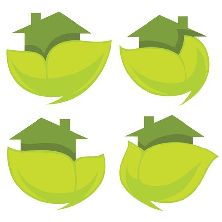 homes: set of ecological homes , signs and icons