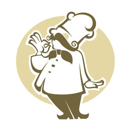 jefe de cocina: cocinero feliz de dibujos animados, ilustración