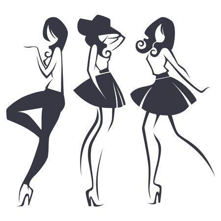 young, fashion and fashionable girls, set