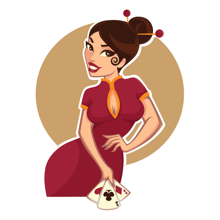 luck: cartoon asian girl for your casino project