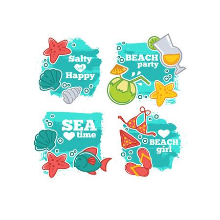 Sommerzeit und Meeresleben, Aufkleber, Abzeichen und Vorlagen