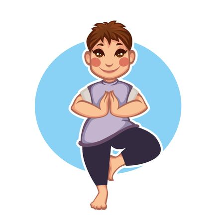 awkward: cartoon girl doing yoga, illustration Illustration