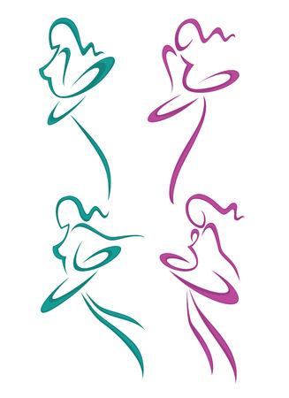 Kolekcja abstrakcyjnych kobiet w balecie stwarzają dla swojego projektu