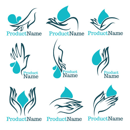 clean water: collection of clean women hands and fresh water,  collecdtion Illustration