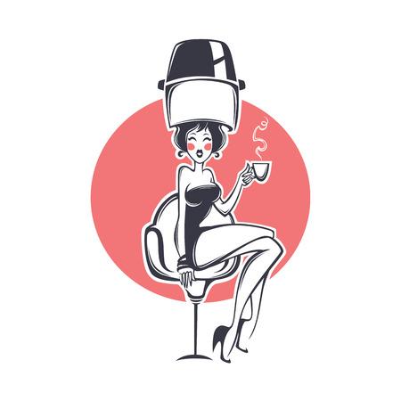 sexy client in hairdresser salon, illustration