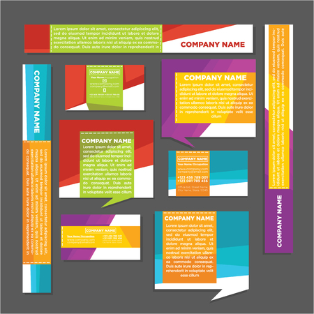 collection of bright labels, business cards, tags, banners and stickers