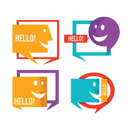 collection of talking, speaking and communication icons, signs and symbols