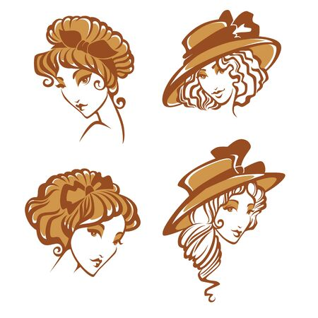 historical romance: set of different historical women portraits Illustration