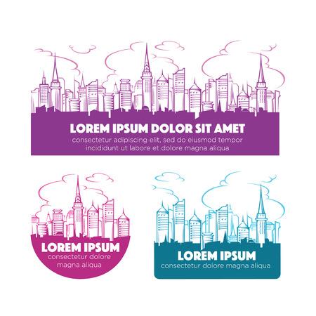 edificio industrial: horizonte de la ciudad moderna, etiquetas y emblemas colección