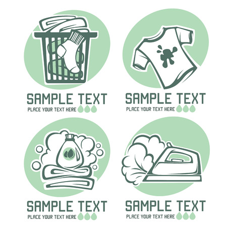 laundry care symbol: laundry and cloth washing emblems for your design Illustration