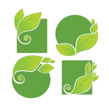 eco notice: vector collection of bright green leaf frames and stickers