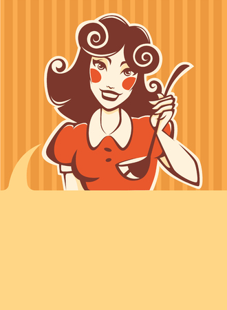 home cooking: Home made cooking in retro style, vector commercial background