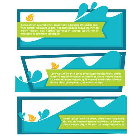 wetness: holiday on water, vector collection of travel banners and labels