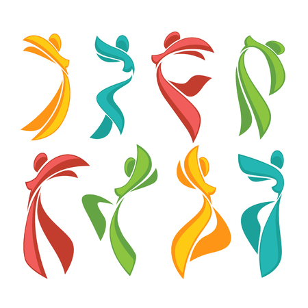 dance design: ector collection of abstract women in dancing poses Illustration