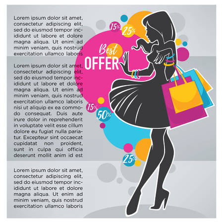 shopping bag: bright shopping background with elegant woman silhouette and shoppind bags