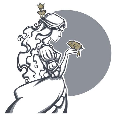 sapo principe: bella princesa y príncipe de la rana, vector de la ilustración del cuento de hadas