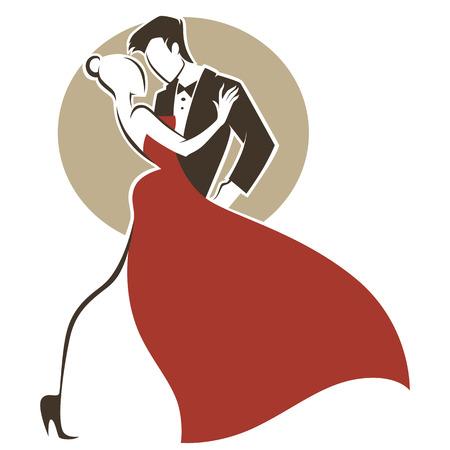 romantic tango, man and woman, wedding greeting card Illustration