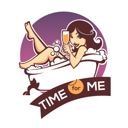 time for me, vector image of beautiful woman taking a bath in bathtub Иллюстрация