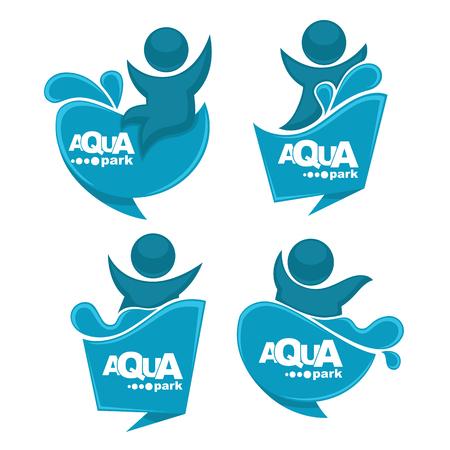 aqua park: vector collection of aqua park and swimming actions, emblem and symbols Illustration