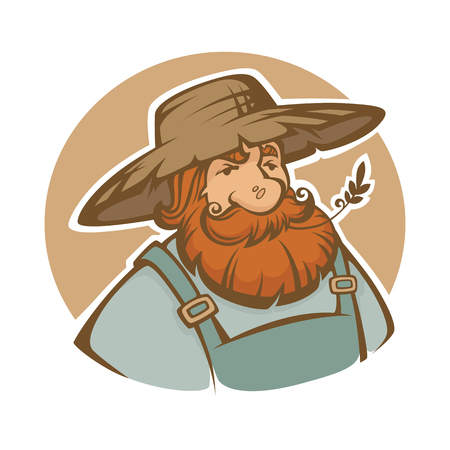 potrait: old cartoon farmer, vector potrait