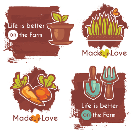 home gardening: life is better on the farm, gardening stickers and labels collection Illustration