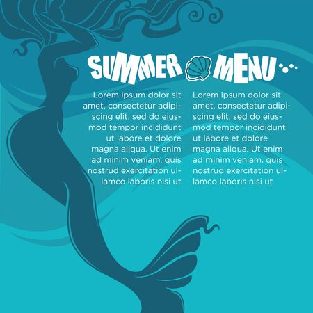seacoast: summer time with beautiful mermaid, brochure and flyer template for your summer menu