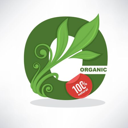 fresh, organic and green, vector O-letter banner template design