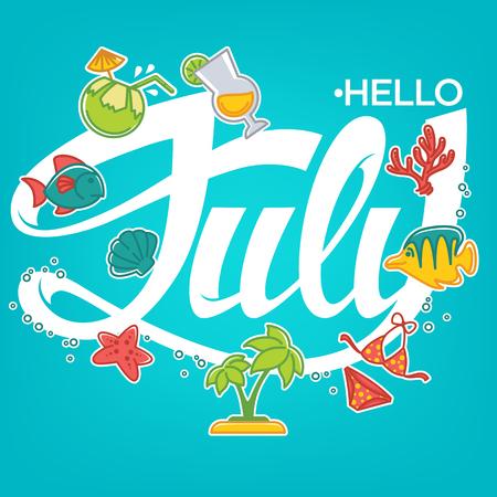 Bonjour juillet, modèle vectoriel pour votre bannière de l'été, carte et flyer Vecteurs