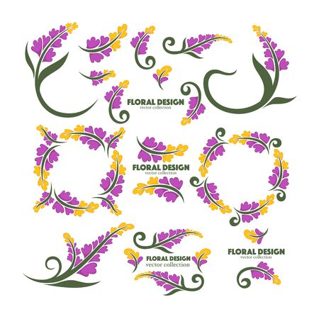 lilac floral design elements and frames