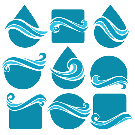 wetness: Set of water design elements, signs,  icons, elements and shapes Illustration