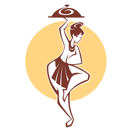 vedas: indian menu, girl in a traditional cloth serve a food Illustration