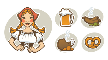 german girl: German girl and collection of traditional German food for your Oktoberfest menu Illustration