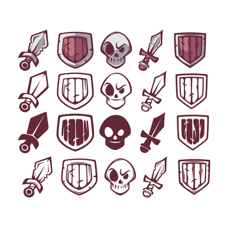 dreadful: Game Icons Set, Sword, Skull and Shield for Your Game and Ui Design