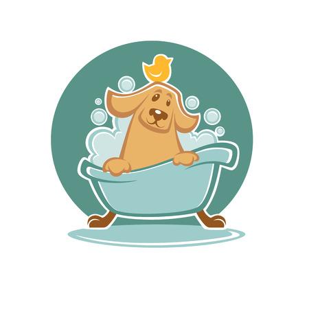 bañarse: lavar su mascota, perro divertido de la historieta que toma un baño en la bañera Vectores