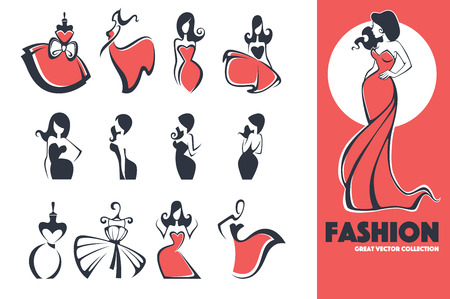 large fashion, dress and beauty icon and emblem collection