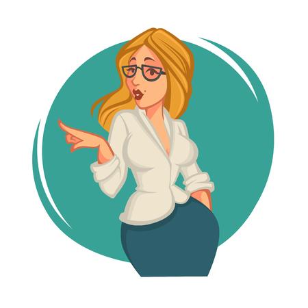 secretary office: secretary, portrait of blond office woman Illustration