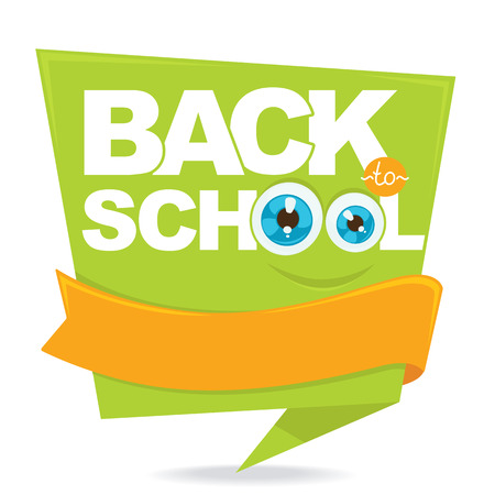 special education: Back to school. Cartoon funny monster, vector banner template design