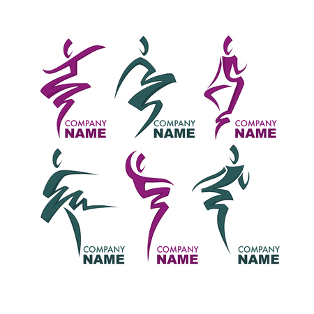 Abstract Dancing People Silhouette Illustration