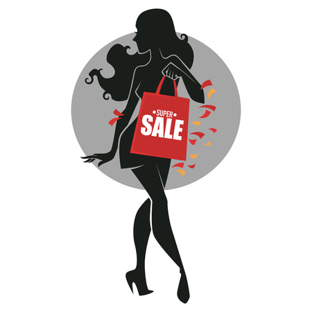 fashionable girl: fashionable girl silhouette with shopping bag, for your sale company