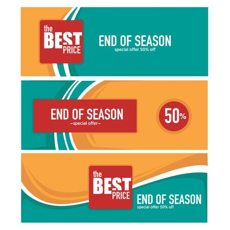 end of summer: end of season, summer sale and discount banner template collection Illustration