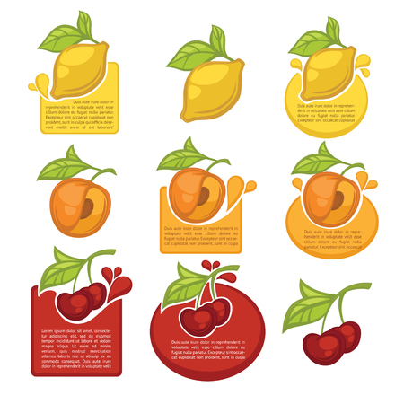 eco notice: vector collection of juice stickers and fruit symbols for your text Illustration