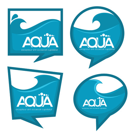 eco notice: vector collection of water stickers banners and bubbles for your text Illustration