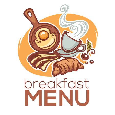 breakfast menu, vector illustration of traditional morning food